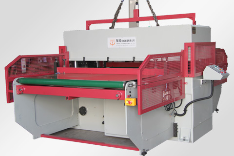 Double side belt feeding four column cutting machine